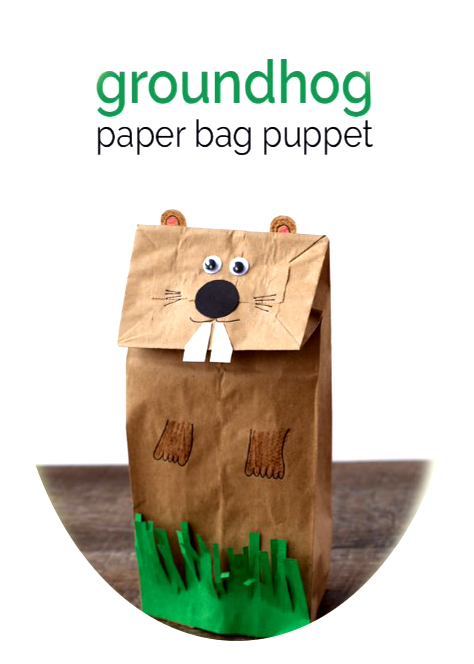 Groundhog paper bag puppet at the Franklinville Library